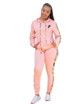 Casual Letter Print Hooded Two Piece Outfits