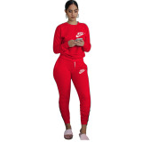 Casual Letter Embroidery Stacked Sports Pullover Blouse and Trousers