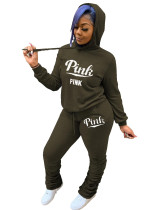 Casual Letter Print Hooded Sweatshirt and Pleated Trousers