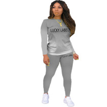 Casual Letter Print Gradient Two Piece Outfits