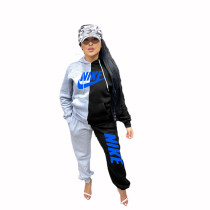 Casual Spliced Embroidery Sports Two Piece Set