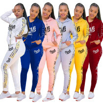 Casual Print Letters Hoodie Sports Pant Set