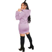 Casual Print Hoodie Sweatshirt Dress
