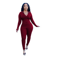 Solid Color Ribbed Embroidered Jumpsuit