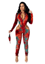 Sexy Printed Zipper Jumpsuit with Mask