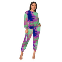 Casual Tie-dye Two Piece Pant Set without mask