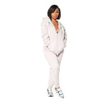 Casual Zipper Print Hoodie Sweatshirt Pant Set