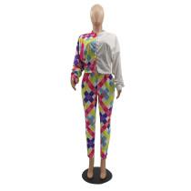 Casual Colorful Lattice Print Pant Set