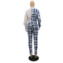 Casual Blue/White Lattice Print Pant Set