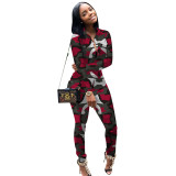 Casual Print Camouflage Pant Set