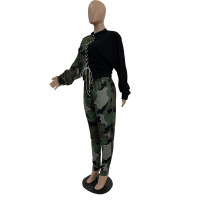 Casual Camouflage Print Pant Set