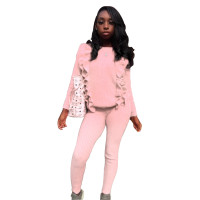 Solid Color Sweater Pant Set