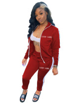 Casual Letter Embroidery Zipper Sports 2 Piece Set