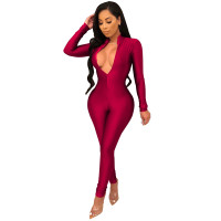 Solid Color High Neck Zipper Jumpsuit