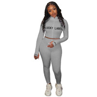Casual High Neck Pit Embroidery Letters Zipper Sports Two Piece Outfits
