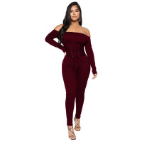 Solid Color Off Shoulder Bandage Jumpsuit
