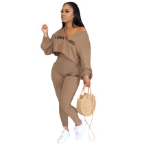 Casual Embroidery Letter Two Piece Outfits