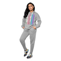 Casual Letter Printing Hooded Sports Two Piece Pant Set