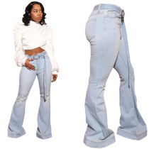 Casual Frazzle Hole Jeans with Belt