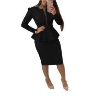 Casual Zipper Women's Office Skirt Set