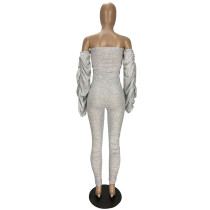 Solid Color Stacked Off Shoulder Jumpsuit