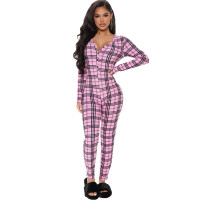 Casual Plaid Buttoned Home Jumpsuit