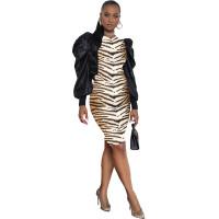 Casual Leopard Print Pullover Midi Dress