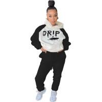 Casual Hooded Letter Printed Sweatshirt Pant Set