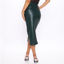 PU Leather Split Skirt