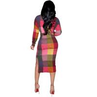 Casual Contrast Print Midi Dress with Belt