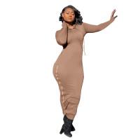 Solid Color Hoodie Zipper Slit Sides Maxi Dress