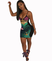 Sequin Embroidery Mermaid Strap Mini Dress