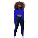 Casual Crop Top Yoga Pant Set