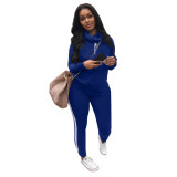 Solid Color Long Sleeve High Neck Pant Set