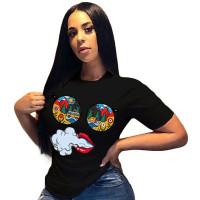 Casual Short Sleeve Cartoon Printed T-shirt Top