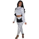 Casual Print Hoodie Crop Top and Pant