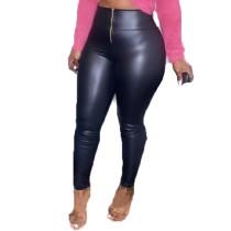 Casual Mid-waist Zipper Leather Pants