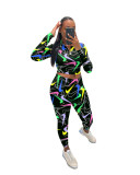 Casual Print High Neck Crop Top and Tight Pant
