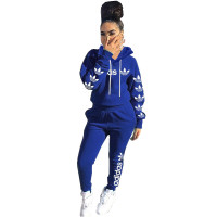 Casual Air Layer Letter Embroidery Hooded Pant Set