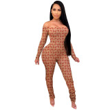 Casual Off Shoulder Stitching Stacked Jumpsuit