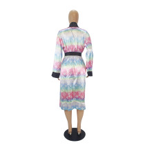 Loose Print Cardigan Home Nightgown