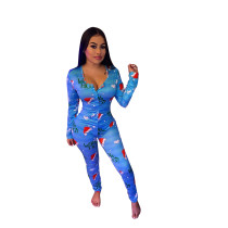Casual Christmas Print V Neck Home Jumpsuit