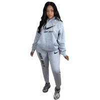 Casual Embroidered Hooded Sweatshirt Two Piece Pant Set