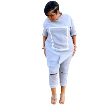 Casual Stitching Burnt Sweatshirt Two Piece Outfits