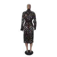Loose Print Cardigan Home Nightgown