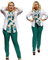 Casual African Print Stitching Plus Size Two Piece Set