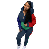 Multi-color Stitching Hoodie Two Piece Outfits