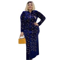 African Gold Velvet Print Plus Size Maxi Dress