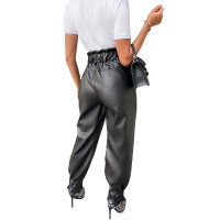 High Waist PU Leather Pleated Pants