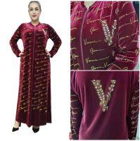 African Gold Velvet Print Plus Size Maxi Dress